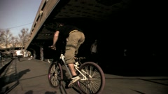 BMX at South Bank Skate Park HD Stock Footage