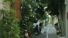 The day begins in a narrow alley of Rethymno in Crete, Greece. Stock Footage