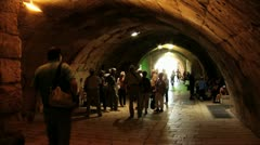 063  time lapse, spectators visit the western wall tunnels Stock Footage