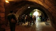 Stock Video Footage of 063  time lapse, spectators visit the western wall tunnels