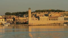Morning mood in the ancient harbor of Rethymno at Crete, Greece - stock footage