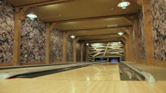 Private Bowling Alley Wide Stock Footage