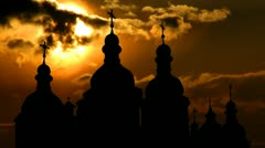 Ukraine Saint  Sophia Cathedral Kiev east sunset Stock Footage