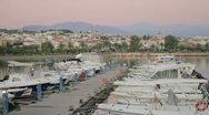 Stock Video Footage of View from the marina to the old town of Rethymno at Crete, Greece