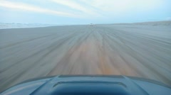 Car Driving on Sandy Beach Point of View - stock footage