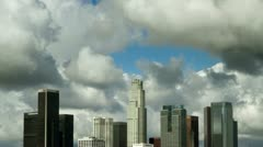 Down Town Los Angeles building clouds Stock Footage