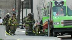 Working HazMat incident, propane leak Stock Footage