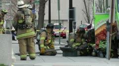 Work on Propane leak, Haz Mat, DC Fire Fighters Stock Footage