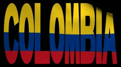 Colombia text with fluttering flag animation Stock Footage