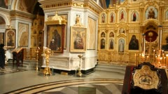 Russian Orthodox Church. The interior, icons, candle, life. - stock footage