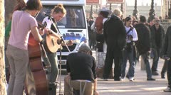 Buskers on London South Bank HD Stock Footage