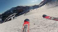 Skiing Downhill Camera Crash Stock Footage