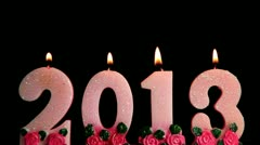 Happy New Year 2013, candles burning, time lapse Stock Footage