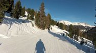 Skiing Downhill Panorame 2 Stock Footage