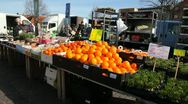 Oranges on a market day Stock Footage