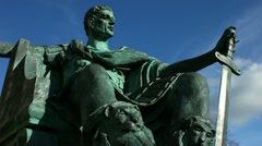 Statue of Constantine the Great who was crowned Roman Emperor in York Stock Footage