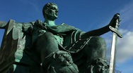 Stock Video Footage of Statue of Constantine the Great who was crowned Roman Emperor in York