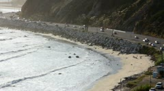 Pacific Coast Highway 05 and beach Stock Footage