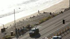 Pacific Coast Highway 07 - bus stop Stock Footage
