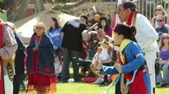 Pow Wow Elder and Youth Stock Footage