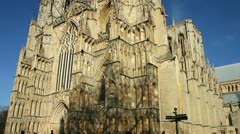 Towers of York Minster rise high above the city of York Yorkshire England UK Stock Footage