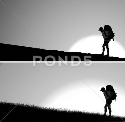 Stock Illustration of lone traveler