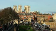 York city wall with York Minster on the skyline. Stock Footage