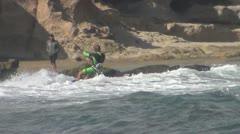 Tenerife, El Médano, beach, kitesurfing, jumping Stock Footage