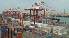Container Yard Pan Stock Footage
