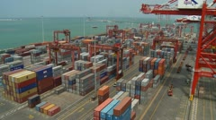 Container Yard and Ship Berthed Stock Footage