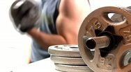Stock Video Footage of Pumping iron fitness workout; 11