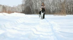 Woman with dog Stock Footage