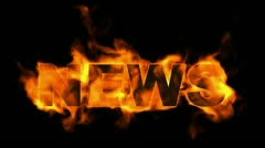 News word,fire text. Stock Footage