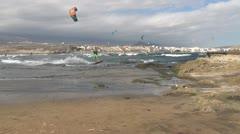 Tenerife, El Médano, beach, kitesurfing, jump Stock Footage