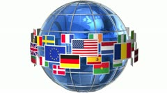 Rotating Earth globe with world flags Stock Footage