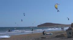 Tenerife, El Médano, beach, kitesurfing Stock Footage