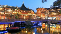 Ancient Chinese YuYuan Gardens, Time Lapse. - stock footage