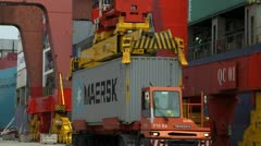 Maersk Container Being Loaded Onto Ship Stock Footage