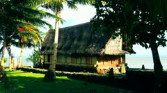 Traditional South Pacific Hut Stock Footage