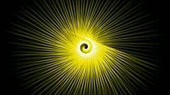Swirl yellow fiber optic lines shaped hole tunnel & ripple pulse,rotation energ Stock Footage