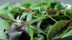 Bowl of salad leaves Stock Footage