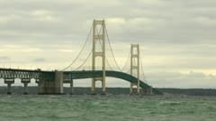 The Mighty Mackinac Bridge on cloudy day - the classic angle Stock Footage