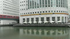 Canary wharf going to work Stock Footage