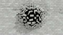 Wall break white brick Stock Footage