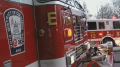 Parked, lights flashing, DC Fire Stock Footage