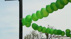 String of Green Balloons Stock Footage