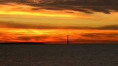 Mackinac Bridge at Sunset pan Stock Footage