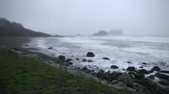 Scenic shore of misty Pacific Ocean Stock Footage
