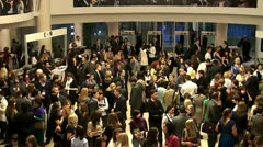 Crowd at the evening reception at the theater Stock Footage