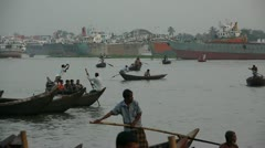 Boats Crossing Buriganga River Dhaka Bangladesh Stock Footage